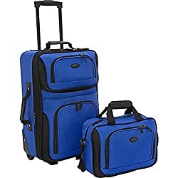 US Traveler Rio Two Piece Expandable Carry-On Luggage Set, Royal Blue