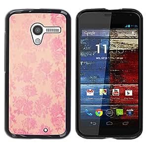 Cubierta protectora del caso de Shell Plástico    Motorola Moto X 1 1st GEN I XT1058 XT1053 XT1052 XT1056 XT1060 XT1055    Wallpaper Pink Floral Pattern @XPTECH