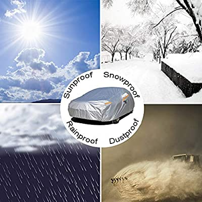 Kayme Car Cover Waterproof All Weather with Lock and Zipper, Outdoor Sun Uv Rain Protection, Fit Sedan (194 to 208 Inch) H4: Automotive
