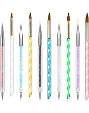 Kit de 10 Piezas de Plumas de Arte de Uñas incluye Cepillos de Línea y Plumas de Pincel de Uñas de Acrílico de Pintura Punteado de Gel (Conjunto de Estilos 1)