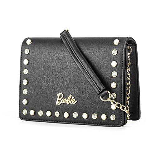 Barbie BBFB541 Bolso bandorela con remache y perlas de Serie Hermosa Bolso para mujer negro