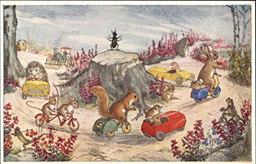 Here We Go Round The Roundabout by Molly Brett Dressed Animals Original Vintage Postcard from CardCow Vintage Postcards