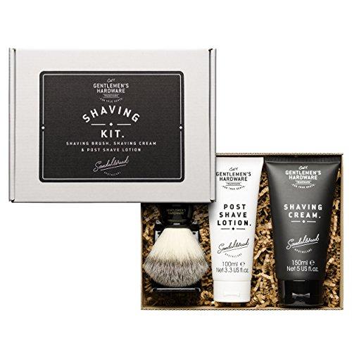 Gentlemens Hardware 3-Pc. Shaving Kit Shaving Brush & Stand, Shaving Cream, Post Shave Lotion