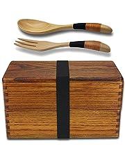 Bento Box, traditionelle Natürliche Holz Lunchbox, Double Layer japanischen Stil, Lebensmittel Obst Sushi Sandwich Container für Reisen Schule Camping (mit Gabel Löffel Kit)