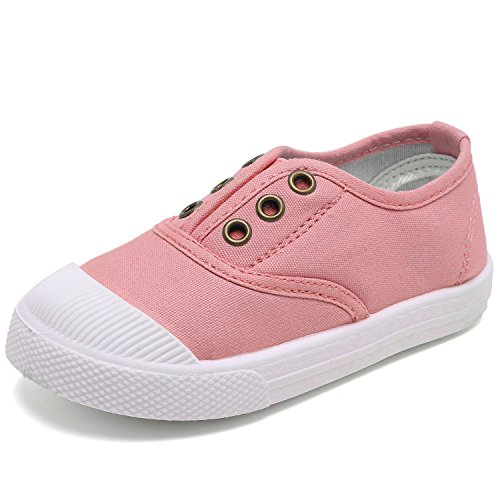CIOR Kids Canvas Sneaker Slip-on Baby Boys Girls Casual Fashion Shoes(Toddler/Little Kids)-Pink-21