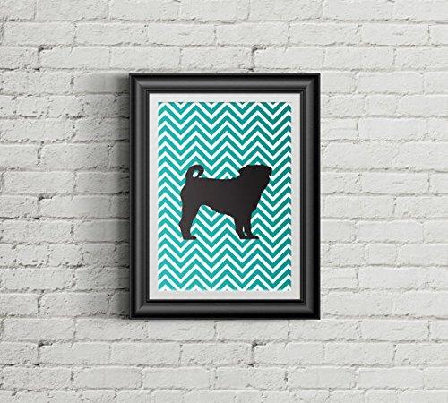 Chevron Pug Art Print