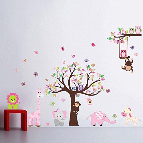 bosque de monos de animal de la selva la ardilla y el juego de columpio bho en hojas de colores tree vinilos decorativos etiqueta de la pared l301 - Vinilos Baratos
