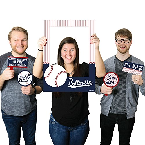 Batter Up - Baseball - Birthday Party or Baby Shower Photo Booth Picture Frame & Props - Printed on Sturdy (Pic Baseball)