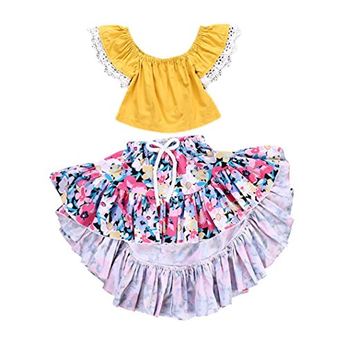 Efaster Toddler Baby Girls Off Shoulder Solid Lace Tops+ Floral Print Skirts Outfits Set (18M, Yellow)