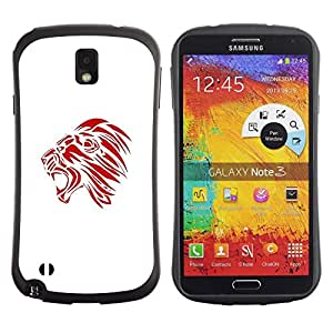 "Hypernova Slim Fit Dual Barniz Protector Caso Case Funda Para Samsung Note 3 [Red Rugido Bostezo minimalista Arte Decal""]"