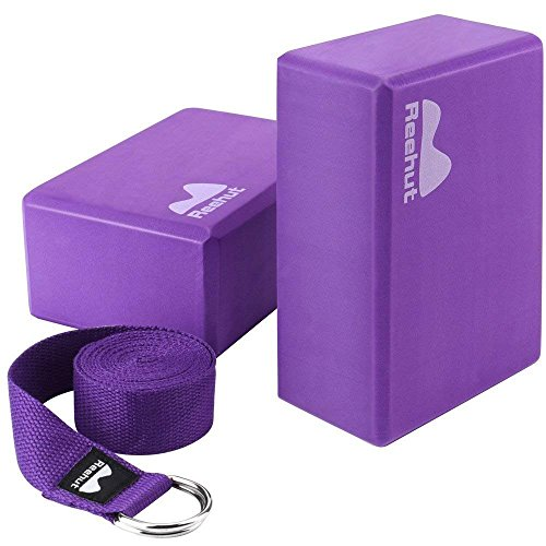 REEHUT Yoga Block (2 PC) and Metal D Ring Yoga Strap(1 PC) Combo Set, 9″ x 6″ x 4″High Density EVA Foam Block to Support and Deepen Poses, 8FT Yoga Belt for Stretching, General Fitness(Purple)