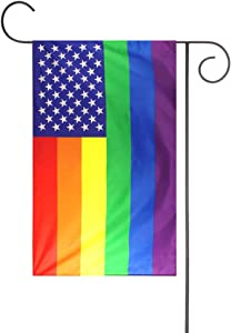 FLAGLINK American Gay Pride Garden Flag - 12 x 18 inch Premium Garden Flag - Double Sided USA Rainbow Garden Flag