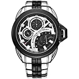 BUREI® Men's Dress Watch with Black Dial Stainless Steel Bracelet