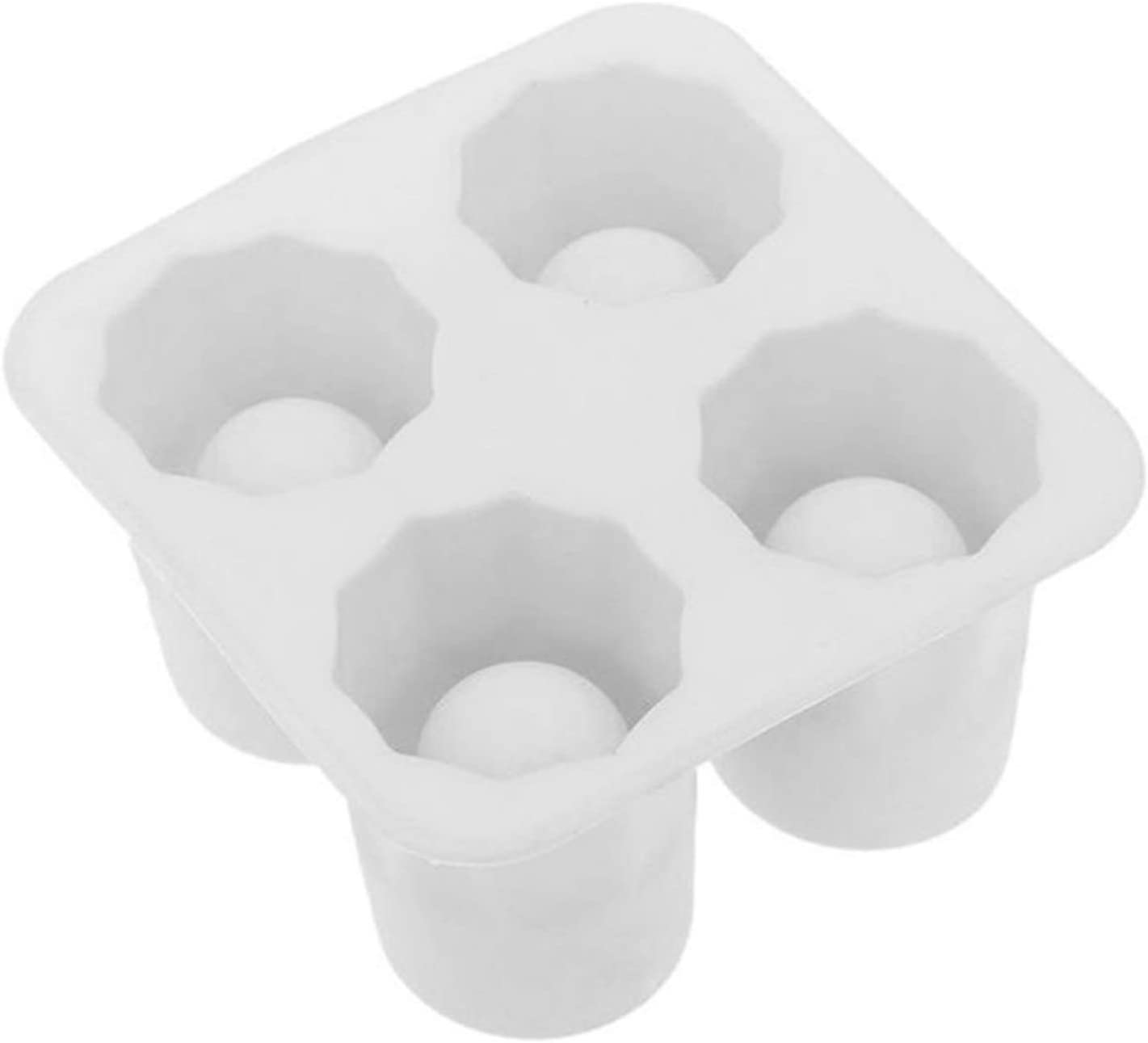 4 colores de silicona de hielo cubo cubo tiradores de vidrio de vidrio molde de hielo cubito de hielo bandeja barra de verano fiesta de cerveza hielo bebida herramienta accesorios (Color : White)