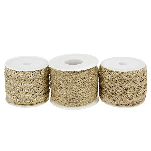 Chosky 3 Styles Natural Jute Twine String Burlap Twisted Hemp Rope Jute Ribbons for Arts Crafts Gift Wedding DIY Decoration 196 inches per Roll