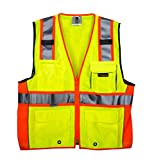 TR Industrial TR55-3M-XXXL Class 2 3M Safety Vest with Pockets and Zipper, XXX-Large