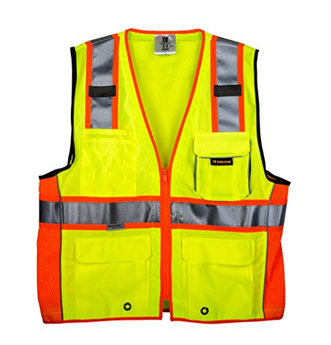 TR Industrial TR55-3M-XXXL Class 2 3M Safety Vest with Pockets and Zipper, XXX-Large by TR Industrial