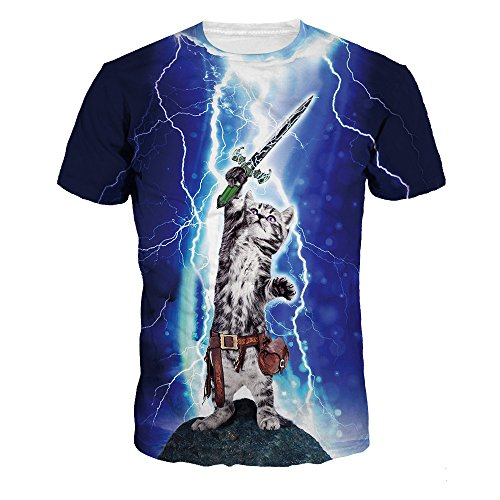Top ColorFino Unisex Funny 3D Printing Lightning Cat T-Shirt Hipster Clothing supplier