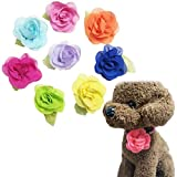 PET SHOW Dog Collar Charms Rose Flower Accessories for Cat Puppy Collars Bowtie Valentine's Day Grooming Pack of 8