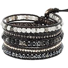 Chan Luu Matte Black Sardonyx Mix Wrap Leather Bracelet