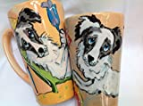 Australian Shepherd Coffee Mugs, Set of 2. Personalized at no Charge. Signed by Artist, Debby Carman.