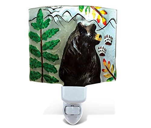 Puzzled Black Bear LED Night Light, Glass Art Plug in Energy Efficient Decorative Socket Lamp Manual On & Off Portable Lights Stairway, Bedroom, Bathroom, Nursery Kids Accessory Home & Kitchen Decor