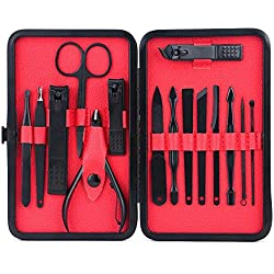 Mens Manicure Set - WoneNice 15 In 1 Stainless Steel Professional Pedicure Kit with Black Leather Travel Case, Thanksgiving Gift (Red)