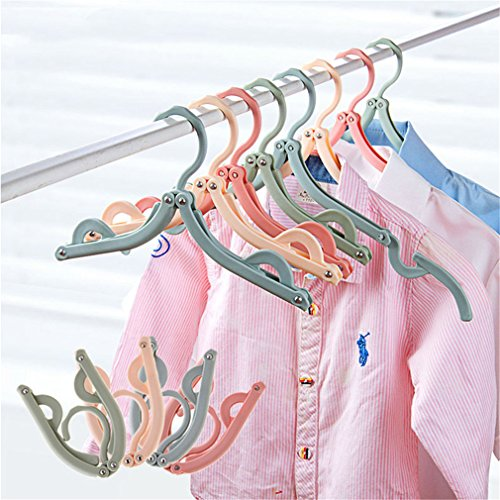 MIAOQUTONG 3Pcs/Set Eco-Friendly Foldable Clothes Hangers Drying Rack Fashion Hangers Hook For Travel Pink ()
