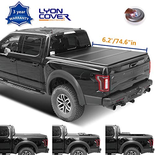 Riseking 6.2ft (6ft 4 inches) Bed Hard Tri Fold Truck Bed fit 2009-18 Dodge Ram 1500 & 2010-18 Dodge Ram 2500/3500 (NOT fit Track Sys. & Roll Bar Models) Tonneau Cover Assembly+LED Lamp+Instruction Dodge Ram 2500 Pickup Track