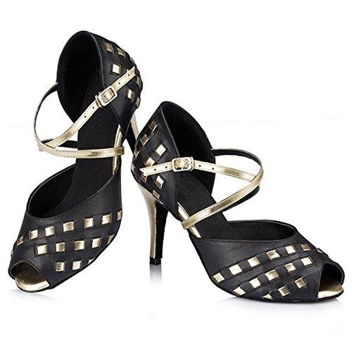 YFF Don Mujeres Zapatos de baile Zapatos de baile de tango danza latina 8.5CM Black