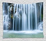 Waterfall Decor Tapestry Wall Decor Massive Magnificent Cascaded Waterfall in Rain Forest with Intense Water Image 60' W by 90' L Beach Throw Wall Decor Bedspread Tapestries, White