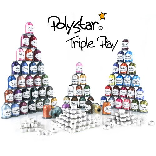 Polystar Triple Play Embroidery Thread Package w/ 42 Country Color 1,100 Yard Embroidery Threads, 23 Nick Color 1,100 Yard Embroidery Threads and FREE!!! 144 Prewound Bobbins Style SA156 / 15J by Polystar