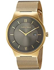 Caravelle New York Mens Quartz Stainless Steel Casual Watch, Color:Gold-Toned (Model: 44B110)