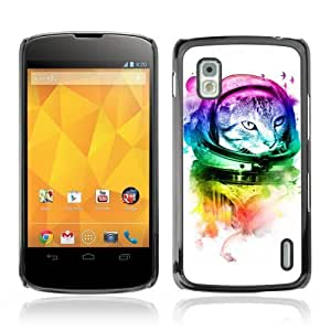 Designer Depo Hard Protection Case for LG Nexus 4 E960 / Neon Astronaut Kitty