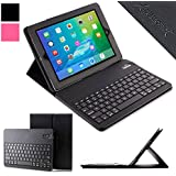 iPad Keyboard + Leather Case - Alpatronix KX100 Bluetooth iPad Keyboard Case for iPad 4,3,2, &1 with Removable Wireless Keyboard Feature, Detachable Vegan Leather Folio with keyboard case & Tablet Stand for all iPads. 100% Satisfaction Guarantee for Apple iPad Keyboard Case. (black)
