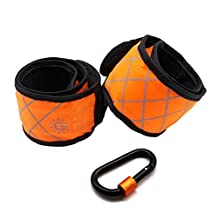 Reflective Armband 1 Pair Orange From Blue Lolly- LED Flashing Running Lights - Night Safety Light - Includes one D key ring as BONUS - Designed for Running, Jogging, Walking, or Cycling (Orange)