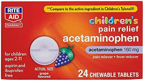 Rite Aid Children's Pain Relief Chewable Tablets, Acetaminophen, 160 mg - 24 Count | Pain and Fever Relief