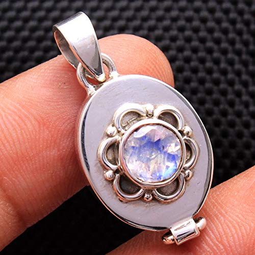 (Round Faceted Moonstone Poison Box Pendant Solid 925 Sterling Silver Handmade Jewelry Pendant For father's Day Gift)
