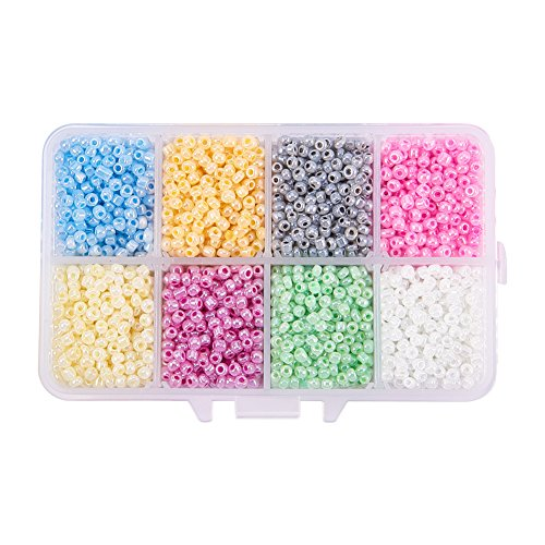 PandaHall Elite 4200Pcs Ceylon Round Glass Loose Spacer Beads 3mm Diameter Multi-color 1 Box