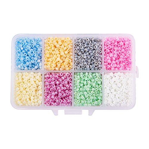 Charming Glass Bead - PandaHall Elite 4200Pcs Ceylon Round Glass Loose Spacer Beads 3mm Diameter Multi-color 1 Box