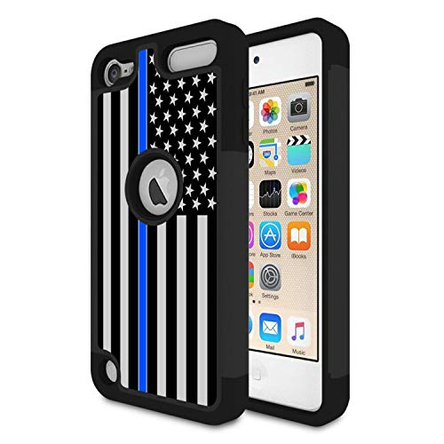 (iPod Touch 6 Case,iPod Touch 5 Case,Rossy Thin Blue Line US Flag Design Heavy Duty Shock-Absorption Hybrid Dual Layer Armor Defender Protective Case Cove for Apple iPod Touch 5 6th Generation)