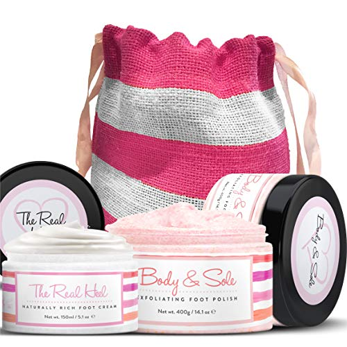 Foot Scrub & Foot Cream Set - Natural Foot Cream for Women - Himalayan Salt Scrub ()
