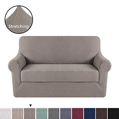 H.VERSAILTEX High Stretch Rich Jacquard 2-Piece Sofa Cover/Loveseat Furniture Cover/Slipcover, Machine Washable Spandex Jacquard Fabric Stay in Place, 2 Seater Loveseat Cover, Taupe