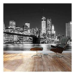 wall26 - Black and White Manhattan Skyline and Brooklyn Bridge - Landscape - Wall Mural, Removable Sticker, Home Decor - 100x144 inches