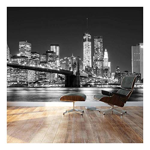 Black and White Manhattan Skyline and Brooklyn Bridge Landscape Wall Mural
