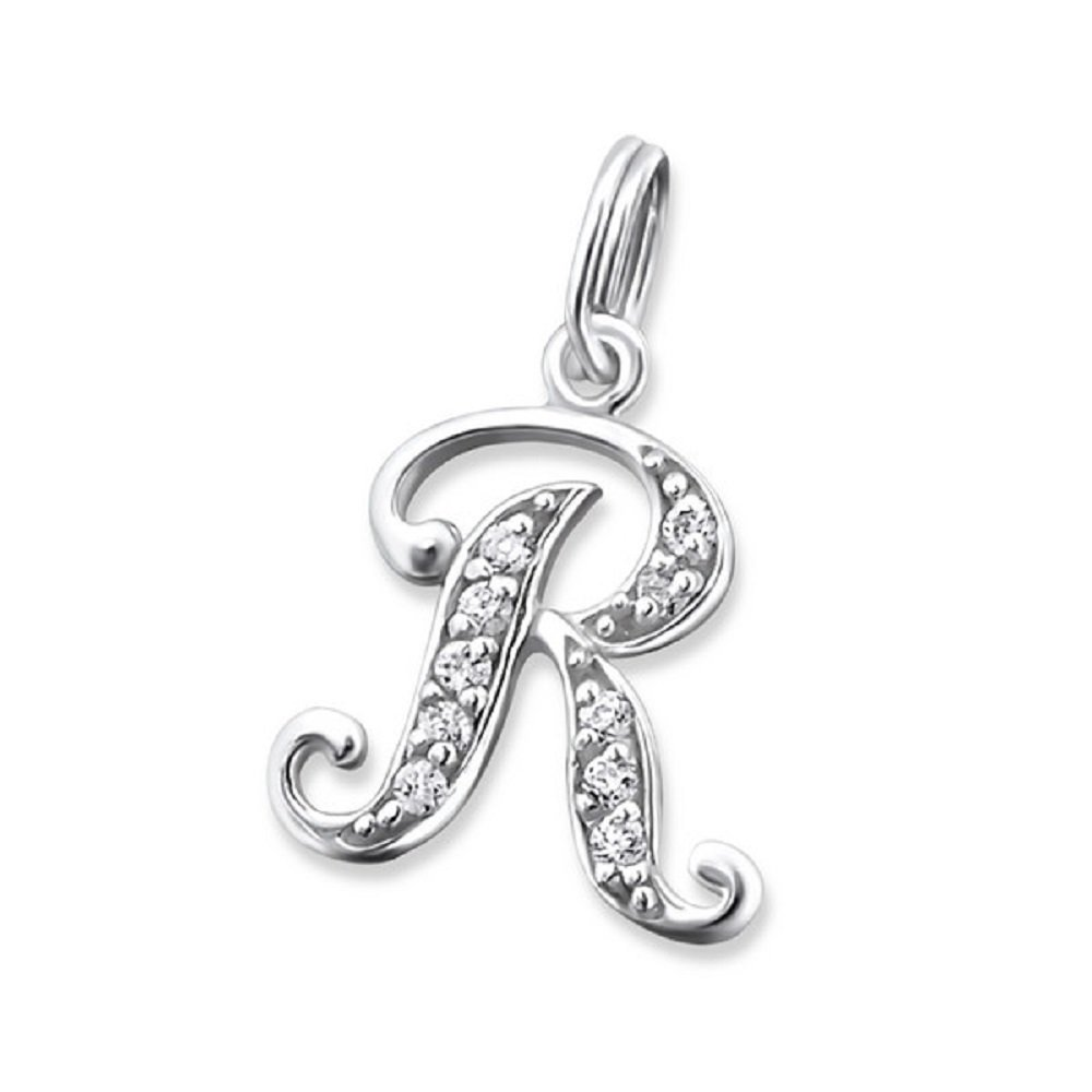 Solid 925 Sterling Silver Dangling Split Top ''Cursive Alphabet Letter w/ Crystal CZ'' Charm Bead 2767 for European Snake Chain Bracelets (R)