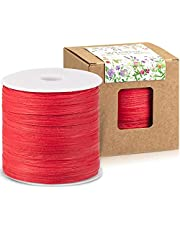 Whaline 229 Yards Raffia Paper Ribbon Craft Packing Paper Twine for Festival Gifts, DIY Decoration and Weaving, 1/4 inch Width