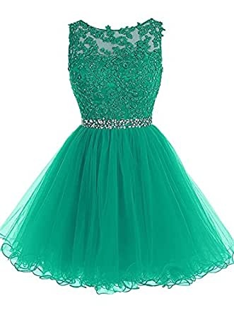 GU ZI YANG GZY Lace Beaded Homecoming Dress Sequined Appliques Cocktail Prom Gown Short GZY042
