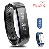 Fitness Tracker, Ronten R2-HR Heart Rate Activity Wristband Waterproof Bluetooth Smart Bracelet,Wireless Touch Screen Fitness Watch with Replacement Band for Android & IOS (Black+blue(strap))