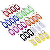 Mudder 30 Pieces Multi-colors Plastic Key Fob ID Tags Luggage ID Labels with Split Ring Keyring